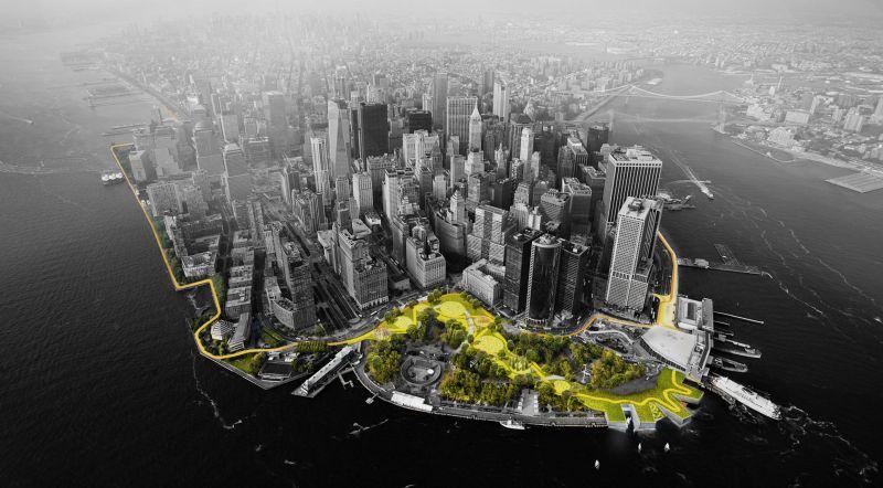 Rebuild by Design, een ontwerpwedstrijd om bewoners van New York meer bescherming te bieden bij toekomstige extreme weersomstandigheden. Beeld: Big Team