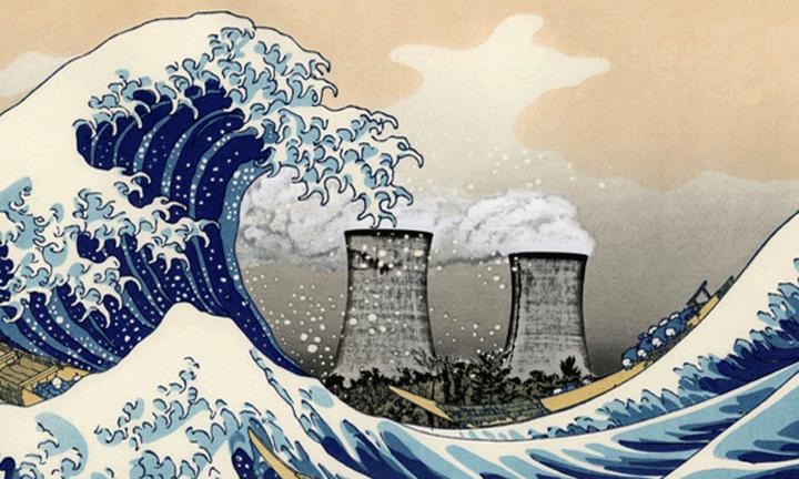 La gran ola de Fukushima, detail van werk van Tam Muro